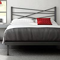 Amisco Crosston Metal Platform Bed, Queen Size 60, Magnetite/Glossy Grey