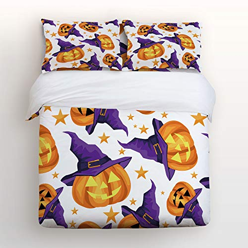 Art Decor Home Happy Halloween Witch Hat Pumpkin Clipart 4 Piece Duvet Cover Bedding Sets 100% Polyester Fiber Comfortable Breathable Soft Material for Childrens/Kids/Teens/Adults Queen