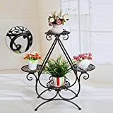 Iron Flower Frame Modern Minimalist Multi-Layer Nordic Creative Potted Floor-Standing (Color : Brass)