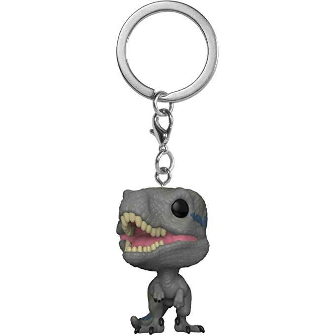 Funko Blue: Jurassic World - Fallen Kingdom x Pocket POP! Mini-Figural Keychain + 1 Classic Sci-fi & Horror Movies Trading Card Bundle [31825]
