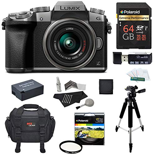 - Panasonic DMC-G7KS Digital Single Lens Mirrorless Camera 14-42 mm Lens Kit, 4K + Starter Bundle + Polaroid 64 GB High Speed 10 UHS3 + Tripod + Polaroid 46mm UV Filter + Battery + Bag