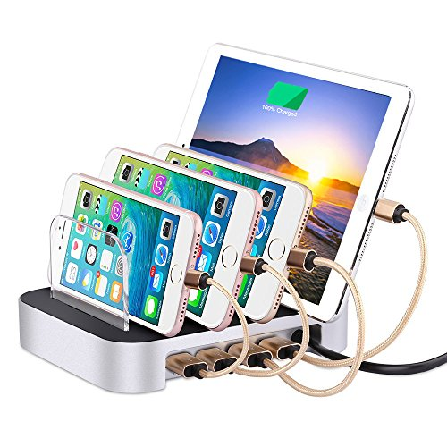 Detachable Universal Multi-Port USB Charging Station Dock,24W 4-Port Desktop Charging Stand Organizer for Smartphones, Tablets & Other Gadgets(Silver,4-port)