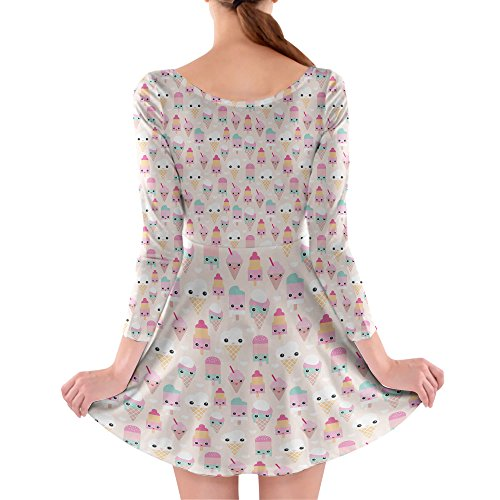 Queen of Cases - Robe - Patineuse - Manches Longues - Femme rose rose bonbon One Size