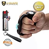 U-Guard Security Products Electric Stun Gun Pepper Spray Keychain Self Defense Kit. Personal Protection Handheld Tazers for Joggers Runners Walking Self-Defense for Women Or Men (Black)