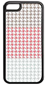Colorblock Houndstooth-Light Brown, Pink,Grey- Case for the APPLE IPHONE 6 ONLY!!!-NOT COMPATIBLE WITH THE IPHONE 6!!!-Hard Black Plastic Case with Soft Black Rubber Inner Lining