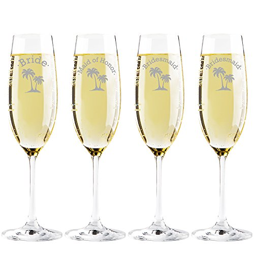 Palm Tree Bride - Maid of Honor - Bridesmaid Champagne Toasting Flute Glasses, Set of 4