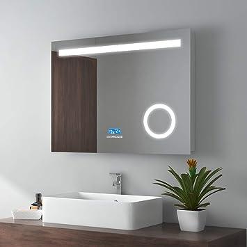 80x60cm LED Badspiegel Wandspiegel Beleuchtung Badezimmerspiegel  Schminkspiegel mit 3-Fach Vergrößerung mit Bluetooth 4.1 Lautsprecher, ...