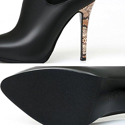 Belle Chaussures CM Dames Mariage Hauts 11 Femmes Pointu De Black Pompes Parti Talons Bout Bandes Leopard Élégant Talons qwPa0AE