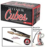 Titanium Natural Coconut Hookah Charcoal Large Cubes 1kg Box with Starbuzz Coal Tongs And Foil Poker
