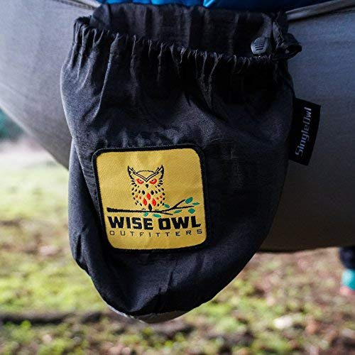 Wise Owl Outfitters Hammock for Camping Single & Double Hammocks Gear for The Outdoors Backpacking Survival or Travel – Portable Lightweight Parachute Nylon SO Black & Grey