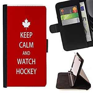 - Keep calm and Wathch Hockey - - Style PU Leather Case Wallet Flip Stand Flap Closure Cover FOR Samsung Galaxy S5 V SM-G900 - Devil Case -
