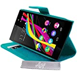 Etui Housse Luxe Turquoise Stand et Portefeuille Wiko Highway Star 4G + STYLET et 3 FILM OFFERT!!