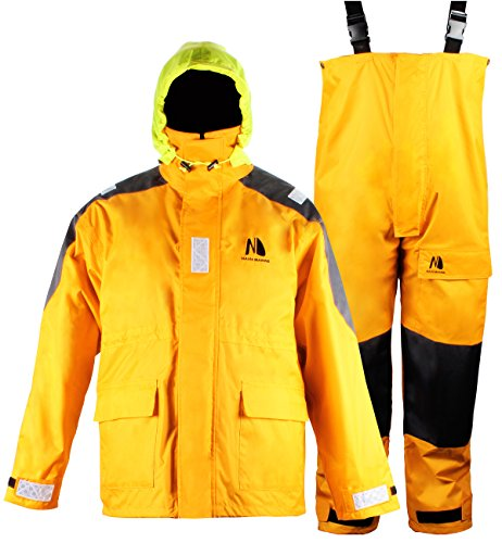 Coastal Sailing Jacket with Bib Pants Fishing Rain Suit Foul Weather Gear (Gold, XL) ()