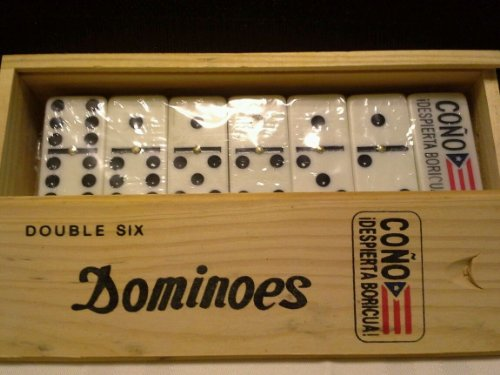 Double 6 Professional Domino Tiles with Spinner in Wooden Box