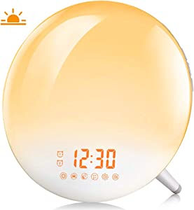 Sunrise Alarm Clock, Te-Rich Wake Up Light with FM Radio/Dual Alarm/7 Nature Sounds & Light Colors/Snooze/20 Brightness, Sleep Aid Lamp Dawn Simulator for Heavy Sleepers/Kids/Teen Girls Boys Bedrooms