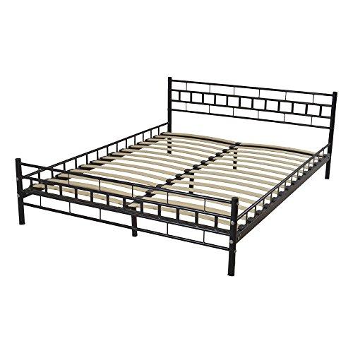 l Bed Frame Platform Headboard Footboard Bedroom Furniture Wood Slats Support 30
