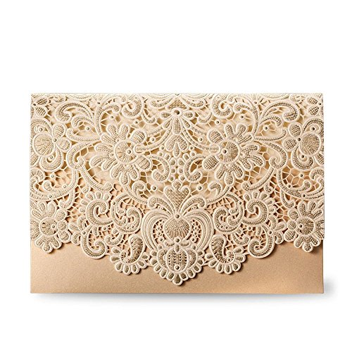 zontal Laser Cut Wedding Invitation Cards Kit with Hollow Flora Favors 100pcs,CW072 ()