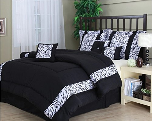 7 Piece Geometric Zebra Pattern Comforter Set King Size, Featuring Eye Catching Animal Inspired Jacquard Design Comfortable Bedding, Contemporary Stylish Exotic Bedroom Decoration, Black, - Zebra Geometric