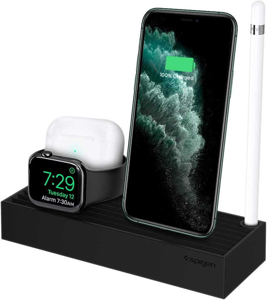 Spigen 3 in 1 Charging Station Designed for iPhone Stand, Apple Watch Stand All Series, and Airpods / Airpods Pro Stand - Black