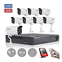 KORANG 8 Channel 1080P DVR AHD Security system with 8x2.0 Megapixel Security Cameras Night Vision Waterproof Outdoor 2TB HDD Pre-installed