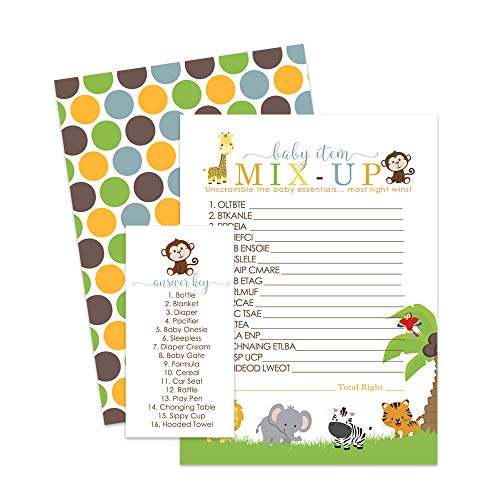 (Blue Jungle Baby Shower Games Word Scramble (Pack of 25 Cards) Cute Animal)