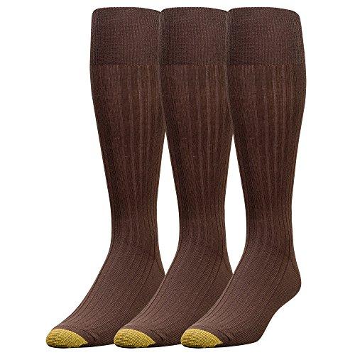 Gold Toe Men's Canterbury Over-the-Calf Dress Socks (Three-Pack),Brown,10-13 (Shoe Size (Brown Toe Socks)