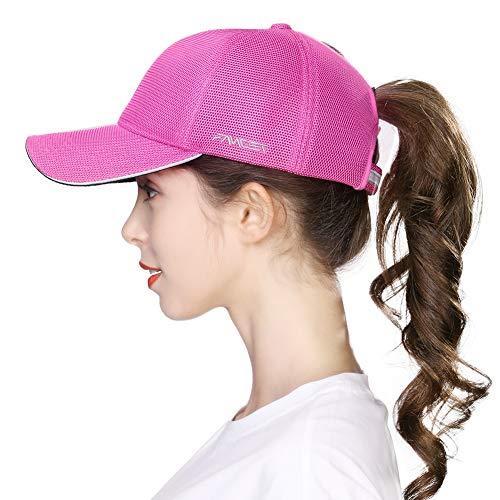 (Red Womens Ponytail Sun Mesh Snapback Reflective Hat Baseball Cap for Girl Rose)
