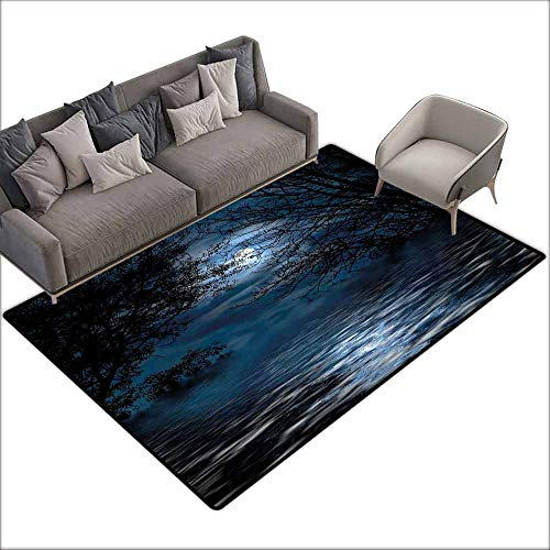(Bath Rug Slip Night Sky Witchcraft Spell Ceremony Atmosphere Forest Full Moon Branches Image Machine wash/Non-Slip W6'7 x L9'10 Light Blue and Black)