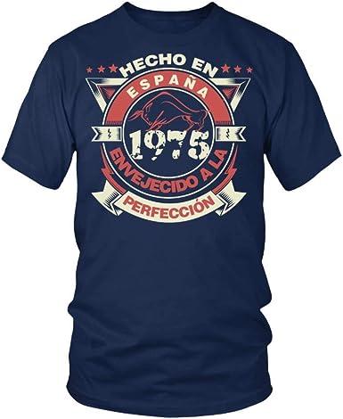 TEEZILY Camiseta Hombre Hecho en españa 1975 Envejecido a la perfección: Amazon.es: Ropa y accesorios