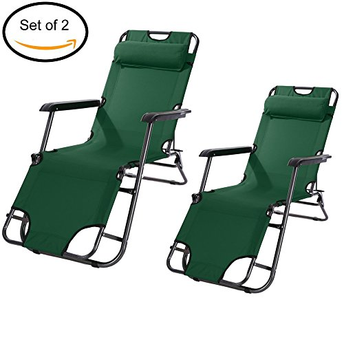 Kaluo Set of 2 Chaise Lounge Chair with Adjustable Pillow, Outdoor Furniture Folding Lightweight Portable Camping Cot Bed (US STOCK) (153cm, Green) (Pvc Pipe Outdoor Furniture Cushions)