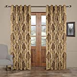 100″W x 102″L (Set of 2 panels) Multi Size Available Custom Modern Country Rustic Floral Faux Silk Jacquard Grommet Top Lined Blackout Window Treatment Draperies & Curtains Panels For Sale