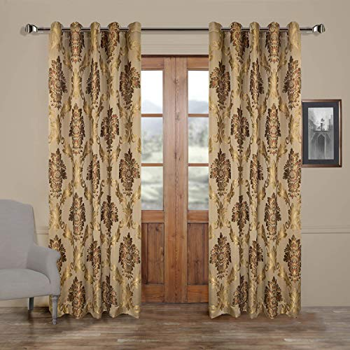 MICHELE HOME FASHION 50″ W x 63″ L (Set of 2 Panels) Multi Custom Modern Country Rustic Floral Faux Silk Jacquard Grommet Top Energy Efficient Window Treatment Draperies & Curtains Panels