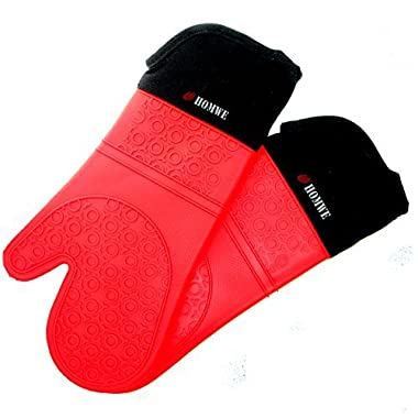 Homwe Professional Silicone Oven Mitt - 1 Pair - Extra Long Oven Mitts with Quilted Liner for Extra Protection - Red