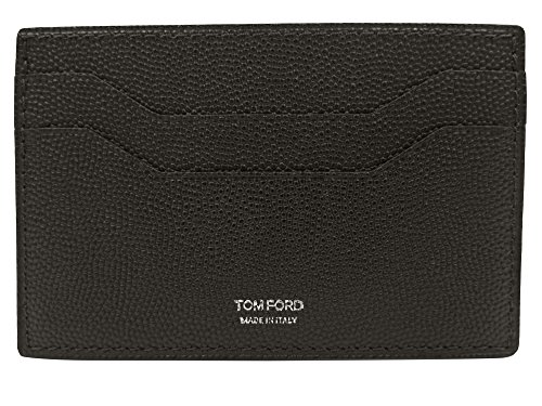 Tom Ford Brown Pebbled Leather Card - Men Tom Wallets For Ford