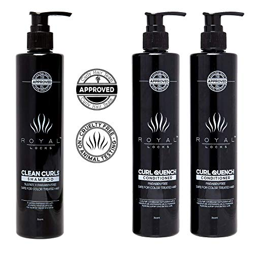 Conditioner and Hydrating Shampoo Set for Curly Hair | Sulfate and Paraben Free Keratin Rich | For Curly Wavy Textured Grey or Fine Hair .by Royal Locks Argan and Macadamia Nut Oils (multi)