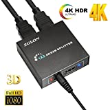 1x2 HDMI Splitter, Zglon 4Kx2K HDMI Switch 1 in 2 out Hdmi Spliter,Hdmi Signal Splitter,Hdmi Switch Box,HDMI Switches Switcher Hub Port with AC Power Adapter for Full Ultra HD 1080P 3D