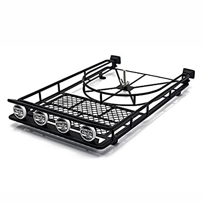 Black Metal Roof Rack with 4LED Lights for 1:10 RC Rock Crawler SCX10 II 90046 90047 Cherokee SCX10 D90 Jeep Wrangler