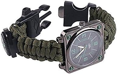 UltraGood - Reloj multifuncional para supervivencia al aire libre, juego de supervivencia, muñequera, cuerda, silbato, brújula, más ligero, para ...