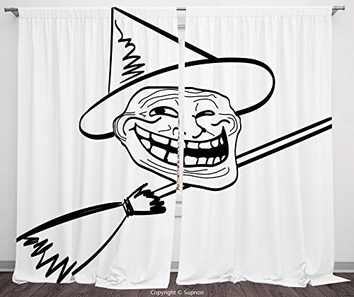 Rod Pocket Curtain Panel Polyester Translucent Curtains for Bedroom Living Room Dorm Kitchen Cafe/2 Curtain Panels/108 x 84 Inch/Humor Decor,Halloween Spirit Themed Witch Guy Meme Lol Joy Spooky -