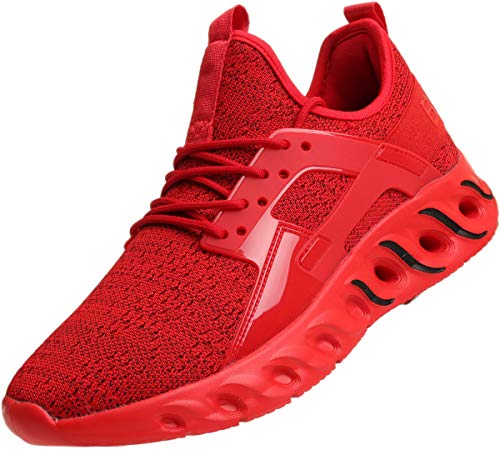 BRONAX Mens Shoes Lace Up Tennis Walking Running Gym Sports Workout Gym Athletic Sneakers for Male All Red Zapatos de Hombre Size ()