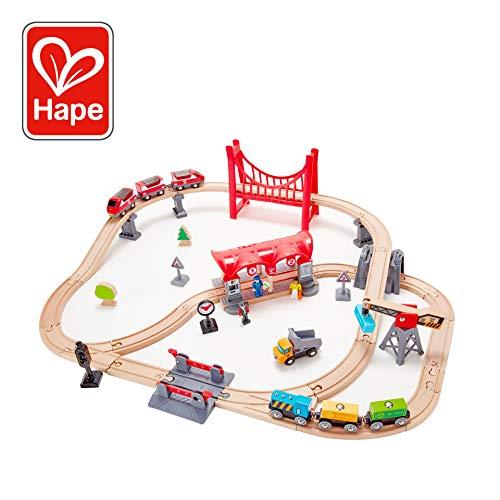 Hape Busy City Train Rail Set | Complete City Themed Wooden Rail Toy Set for Toddlers with Passenger Train, Freight Train, Station, Play Figurines, and - Wooden Railway