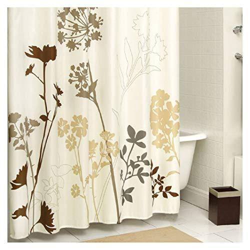 DS BATH Silhouette Flower Mildew Resistant Polyester Fabric Shower Curtain,Plants Shower Curtains for Bathroom,Floral Bathroom Curtains,Waterproof Shower Curtain,72