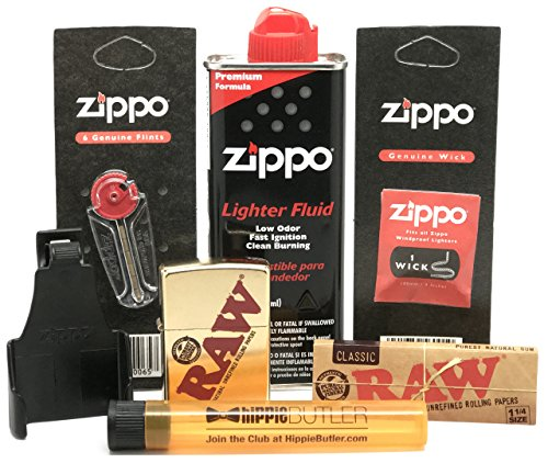 (Bundle - 7 Items - RAW Zippo Lighter (Gold), Z-Clip, Lighter Fluid, Flints, Wick, RAW Natural 1 1/4 Rolling Papers with Hippie Butler Doob Tube)