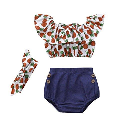 Rucan Newborn Baby Girl Sleeveless Pineapple Pattern Tops+Shorts+Headband 3Pcs Outfit (White, 18-24 Months)