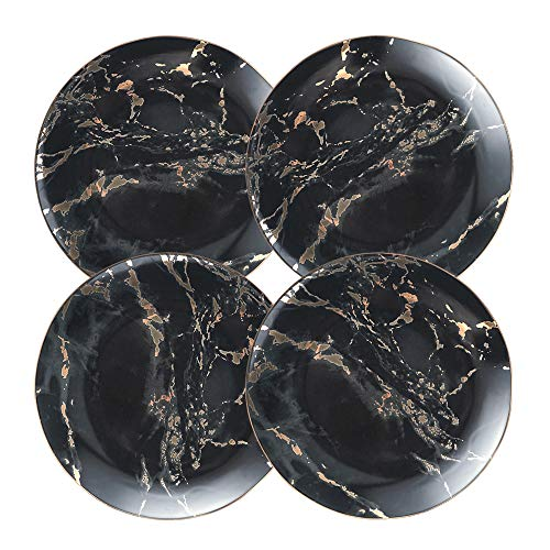 Coffeezone Gold Inlay Black Marble Design Porcelain Cake Plates Set of 4 (Black 8 inches)