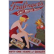 FRALINGERS SALT WATER TAFFY BEACH GIRL ATLANTIC CITY USA VINTAGE POSTER REPRO