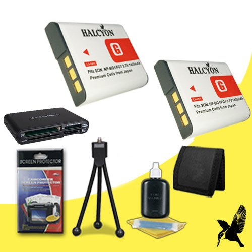 Two Halcyon 1400 mAH Lithium Ion Replacement NP-BG1 Battery + Memory Card Wallet + Multi Card USB Reader + Deluxe Starter Kit for Sony Cyber-shot DSC-W50 6.0 MP Digital Camera and Sony NP-BG1 by Halcyon