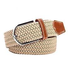 Aorbi Unisex Nylon Canvas Elastic Fabric Woven Stretch Braided Waist Belt
