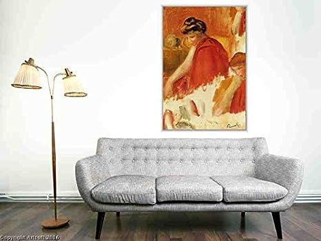 Reproduccion pintada a mano/Pintura al oleo - 32 x 48 inches / 81 x 122 CM - Pierre-Auguste Renoir - Two Women in Red Robes: Amazon.es: Hogar