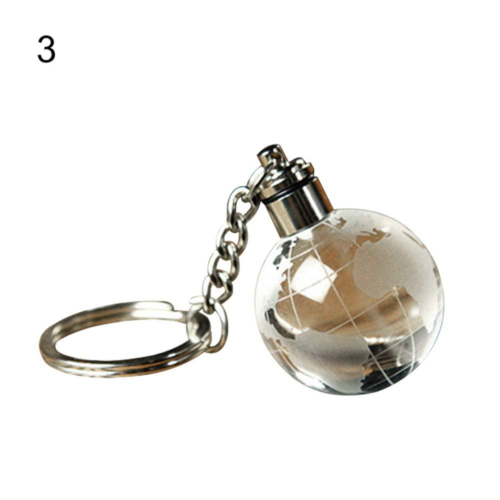 856store Popular LED Light Christmas Ball Key Chain Football Basketball Globe Key Ring Gift Decor - Globe